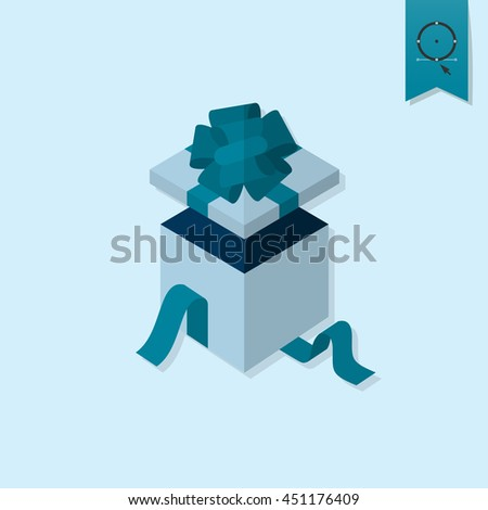 Happy Birthday Icon. Open Gift Box. Simple, Minimalistic and Flat Style. Monochrome color. Vector - stock vector