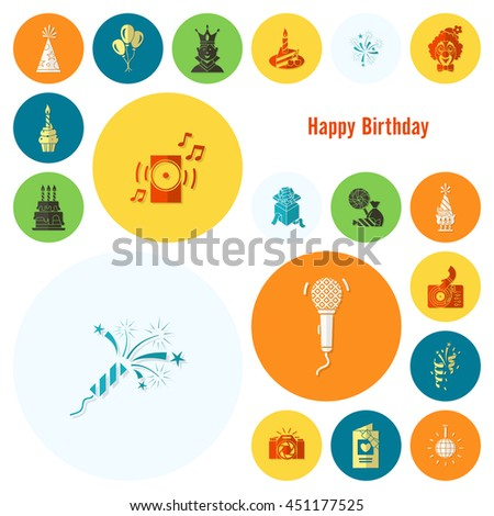 Happy Birthday Icons Set. Simple, Minimalistic and Flat Style. Colorful. Vector - stock vector