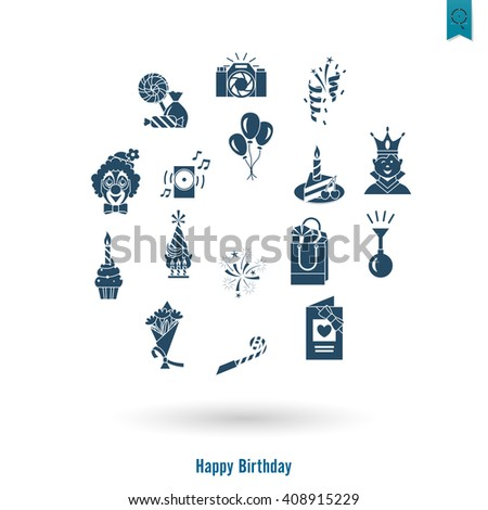Happy Birthday Icons Set. Simple, Minimalistic and Flat Style. Vector - stock vector