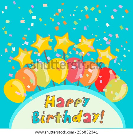happy birthday illustration with confetti and balloons - stock vector