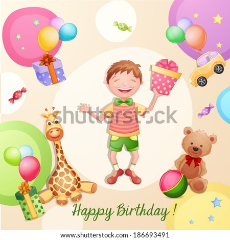 Happy birthday illustration with happy boy holding a gift box.  - stock vector