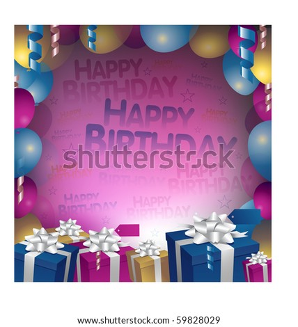 Happy birthday invitation - stock vector