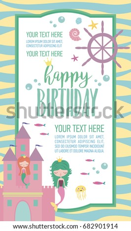 Happy birthday invitation party greeting card stock vector 2018 happy birthday invitation for party or greeting card with mermaid and sea life vector illustration stopboris Gallery