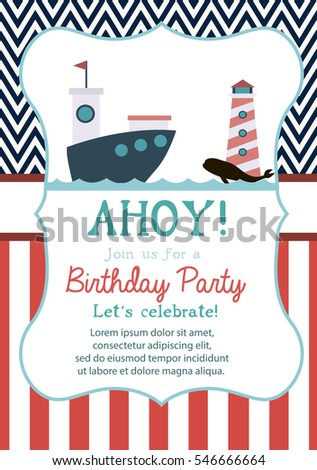 Happy birthday invitation greeting card template stock vector happy birthday invitation or greeting card template with nautical elements vector illustration stopboris Images