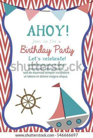 Happy birthday invitation greeting card template stock vector happy birthday invitation or greeting card template with nautical elements vector illustration stopboris Image collections
