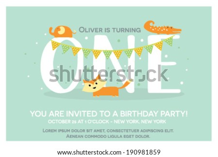 Happy Birthday Invitation Template for One Year Old in Vector - stock vector