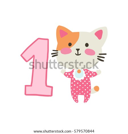 Happy birthday invitation template one year stock vector 579570844 happy birthday invitation template for one year old with cat vector illustration filmwisefo Choice Image