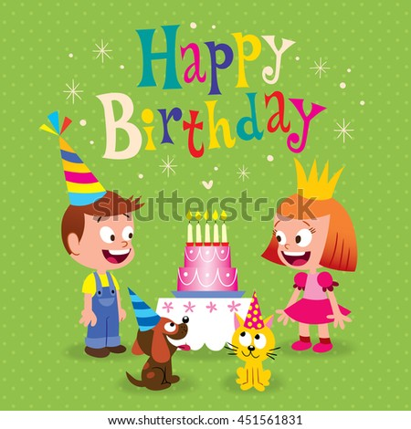 Happy Birthday Kids Greeting Card With Little Girl And Boy Puppy Kitten
