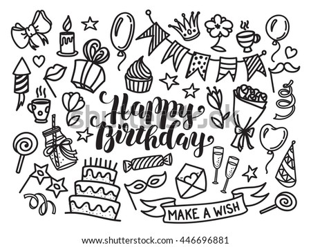 Happy birthday lettering and doodle set. Vector illustration isolated on white background. Funny set of sketch birthday party objects. Coloring greeting card or invitation - stock vector