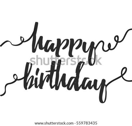 Happy Birthday Greeting Card Modern Calligraphy Vector – Birthday Card Font