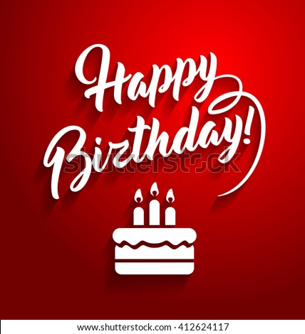 Happy Birthday Lettering Text On Red Stock Photo (Photo, Vector ...