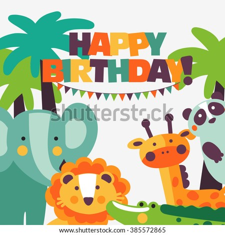 Happy birthday - lovely vector card with funny cute animals and garlands. Modern vector style. Perfect for cards, invitations, party, banners, kindergarten, preschool and children room decoration - stock vector