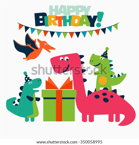 Happy birthday - lovely vector card with funny dinosaurs. Ideal for cards, logo, invitations, party, banners, kindergarten, preschool and children room decoration - stock vector