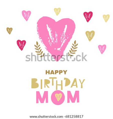 Happy Birthday Mombirthday Greeting Card Design Stock Vector 2018
