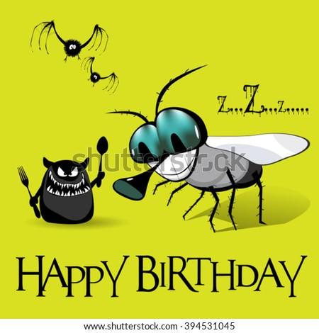 Happy Birthday monster - stock vector