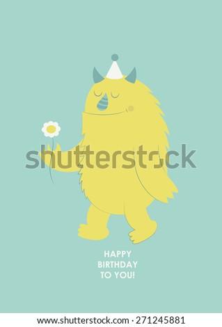 happy birthday monster card. vector illustration - stock vector