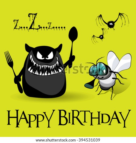 Happy Birthday monster smile - stock vector