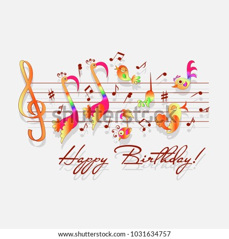 Happy birthday musical congratulations romantic design stock vector happy birthday musical congratulations for romantic design announcements greeting cards posters bookmarktalkfo Choice Image