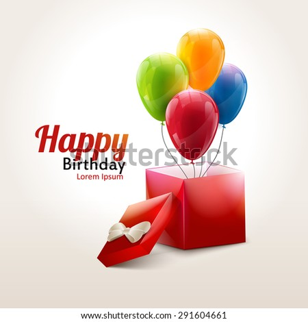 Happy birthday or celebrating background with colorful balloons and box with cover - stock vector