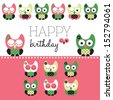 Happy birthday owl vector - stock vector
