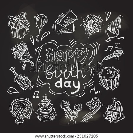 Happy birthday party celebration chalkboard decorative elements set with gift box balloon invitation envelope isolated vector illustration - stock vector