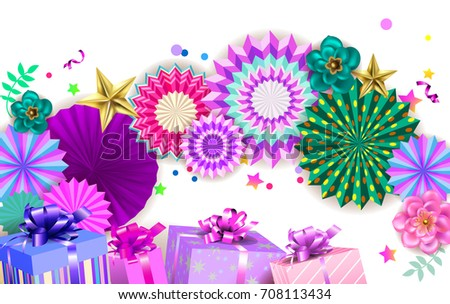 Happy Birthday Party Design Colorful Hanging Stock Photo Photo