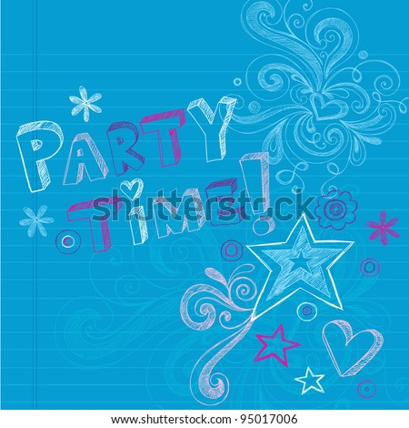 Happy Birthday Party Time Sketchy Back to School Hand-Drawn Notebook Doodles Vector Illustration Design Elements on Lined Sketchbook Paper Background - stock vector