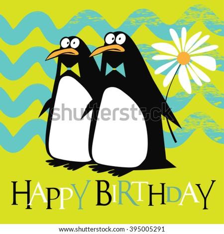 Happy Birthday penguin smile card - stock vector