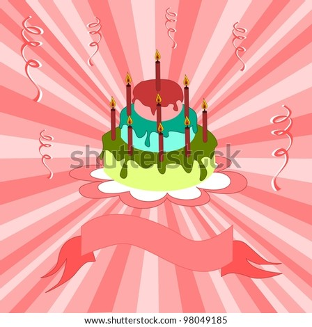 Happy Birthday postcard - stock vector