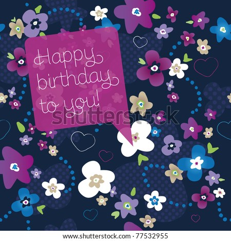 Happy birthday postcard seamless flower pattern background in vector - stock vector