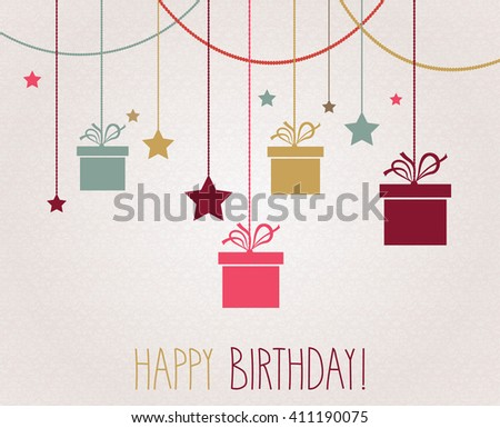 Happy Birthday poster. Hanging colorful gift. Vector illustration.