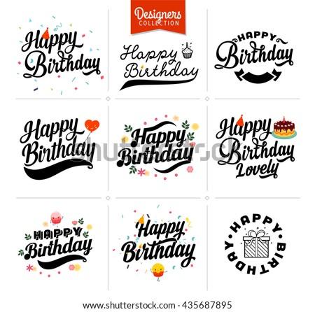 Happy birthday Premium typography elements for birthday party, anniversary.  - stock vector