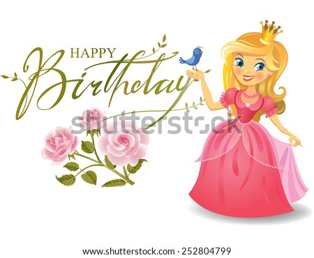 Happy Birthday, Princess, greeting card.  - stock vector