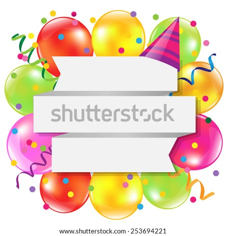 Happy Birthday Retro Card With Gradient Mesh, Vector Illustration - stock vector