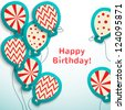 Happy birthday retro postcard with balloons. Vector illustration for your holiday presentation. Easy to use. Postcard picture in vintage color. - stock photo