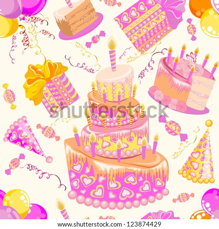 Happy birthday seamless background pattern. - stock vector