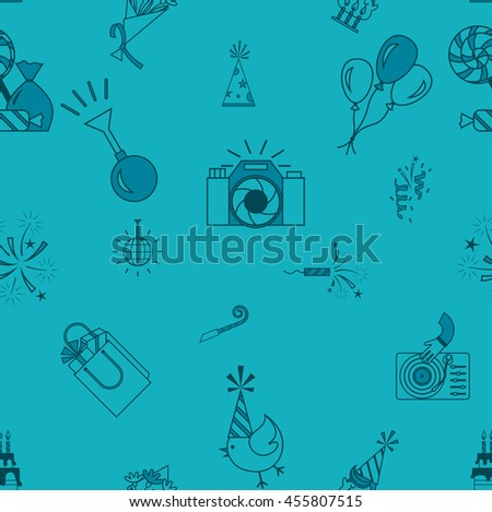 Happy Birthday Seamless Background Pattern. Simple, Minimalistic and Flat Style. Monochrome color. Vector - stock vector