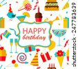 Happy birthday seamless pattern with party and celebration design elements, icons and objects: balloons, confetti, cake, drinks, sweets, gifts etc., vector illustration  - stock photo