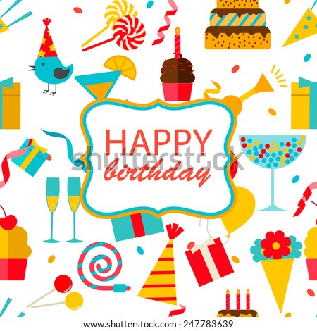Happy birthday seamless pattern with party and celebration design elements, icons and objects: balloons, confetti, cake, drinks, sweets, gifts etc., vector illustration  - stock vector