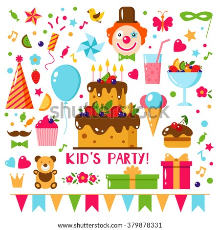 Happy Birthday set, vector flat illustration. Kids party and celebration design elements: cake, gift, clown, toy, sweet, fruits, food.