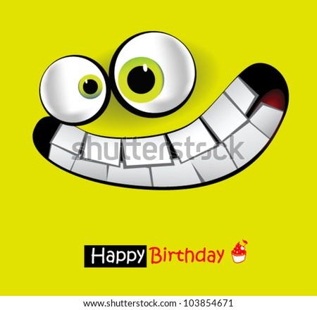 Happy Birthday smile card - stock vector