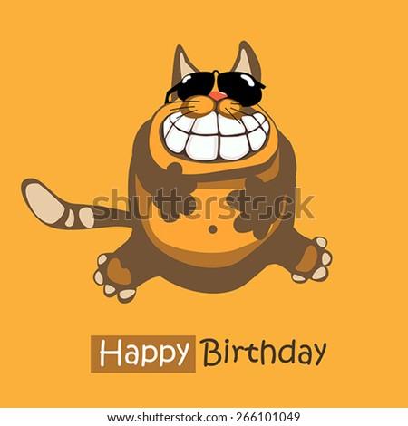 Happy Birthday smile cat card - stock vector