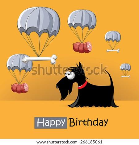Happy Birthday smile dog - stock vector