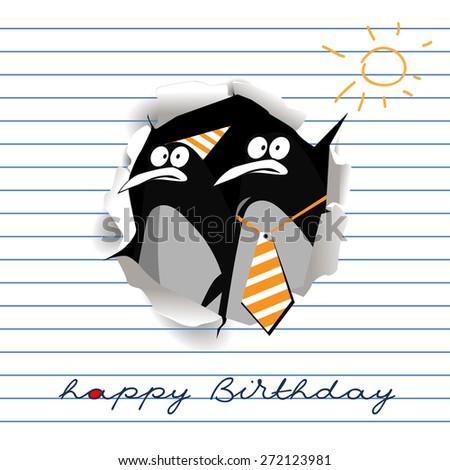 Happy Birthday  smile gift penguins - stock vector