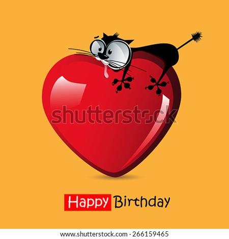 Happy Birthday smile love cat - stock vector