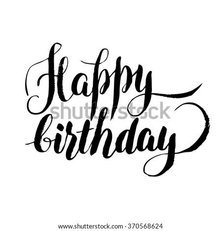 Happy Birthday Stilish Lettering Over Gold Stock Vector