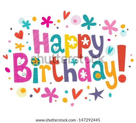 Happy Birthday text - stock vector