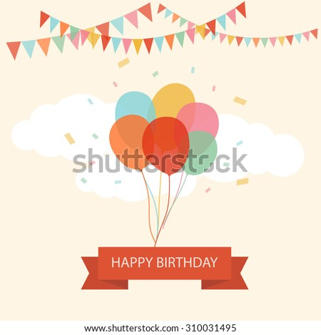 Happy birthday text box, Color balloon with cloud background.