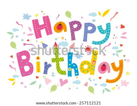 Happy Birthday text. doodle vector. - stock vector