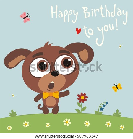 Happy birthday you funny puppy dog stock vector 609963347 happy birthday to you funny puppy dog sings birthday song card with puppy dog bookmarktalkfo Images